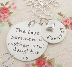 Hand Stamped Mother Daughter Necklace: Personalized Jewelry, Mother Daughter Charm, Mother Daughter on Luulla by I Love My Daughter, My Beautiful Daughter, Mother Daughter Jewelry, Hand Gestempelt, Mommy Necklace, Necklace Set, Thing 1, Hand Stamped Necklace, Stamped Jewelry