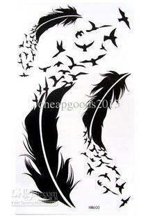Fashion Tattoo Stickers Leg, Arm Feathers Stickers HM600, $1.89 ...