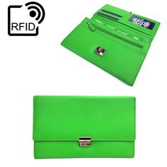 Prime Hide Luxury Soft Leather RFID SAFE Travel Planner Wallet Travel Purse In Green