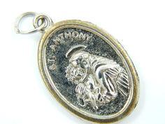 Vintage Saint Anthony  Holy Dove Catholic Medal  by LuxMeaChristus
