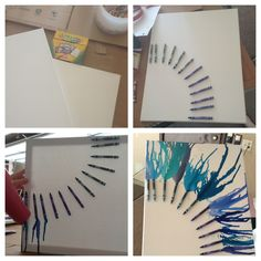 DIY crayon canvas: - White canvas - New box of crayons, and line them up how you want them!  - Hot glue them down, and let it dry for 30 minuets!  - Take a hair blow dryer and blow it in the direction you want the crayons to melt! So simple!
