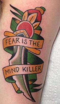 """My Tribute to Dune """"Fear is the Mind Killer"""" tattoo! Dune Series, Dune Frank Herbert, Tattoo Flash Sheet, Traditional Sleeve, Cool Tats, In The Flesh, Quotable Quotes, Body Painting, Tattoo Inspiration"""