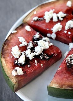 Grilled Watermelon:  Prep Time: 5 Minutes:  Cook Time: 14 Minutes