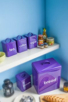 Purple Tea Coffee Sugar Canisters Bread Bin Storage Set 5 Kitchen  Accessories | Tea Coffee Sugar Canisters, Sugar Canister And Storage Sets