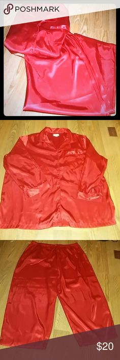Red Pajamas red pajama set , long sleeve ,100% polyester , the label size say  3X/3X , which could mean larger than a regular 3X ,  these are very roomy and just looking at them I would think they're more like a 4X Intimates & Sleepwear Pajamas