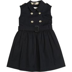 Burberry Kids-girls Sleeveless Cotton Gabardine Dress (2,320 GTQ) ❤ liked on Polyvore featuring navy