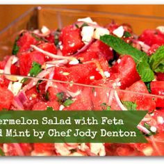 Spicy Watermelon Salad With Feta Cheese And Mint. -I left out the lime juice and other spices