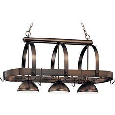 Volume Lighting, Antique Bronze Pot Rack Pendant, at The Home Depot - Mobile Pot Rack Hanging, Hanging Pots, Home Depot, Kitchen Island Lighting, Decoration, Cool Kitchens, Pendant Lighting, Ceiling Lights, Antiques