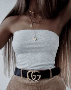 grey tube top + gucci belt + corduroy skirt