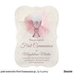 pink watercolor First Communion girl Invitation