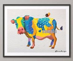 DIY Original watercolor Cow canvas painting wall art poster print pictures living room Home Decoration wall hanging sticker gift-in Painting & Calligraphy from Home & Garden on Aliexpress.com | Alibaba Group