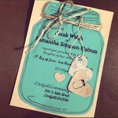 Rustic Mason Jar Wedding Invitation by JeNeBridal on Etsy