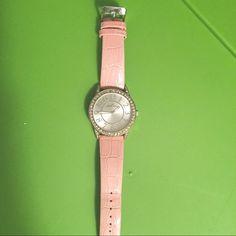 Pink Anne Klein watch Worn twice, beautiful Anne Klein pink snakeskin watch. Super comfortable and cute with rhinestones around face. Needs a new battery Anne Klein Jewelry Bracelets