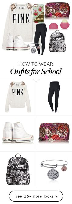 """""""School on Monday """" by sarahs2734 on Polyvore featuring Victoria's Secret, Converse, Vera Bradley, NIKE, Topshop, women's clothing, women's fashion, women, female and woman"""