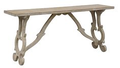 Villa Console Table  Wood: Solid Pine | Finish: Distressed, Antique White