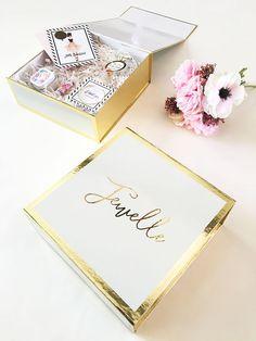 Rigid drawer style gift box. Black matte box with gold foil print ...