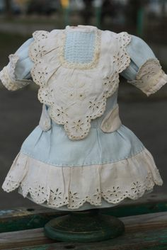 Marvelous antique doll dress, linen, hand-embroidered, German, French bebe
