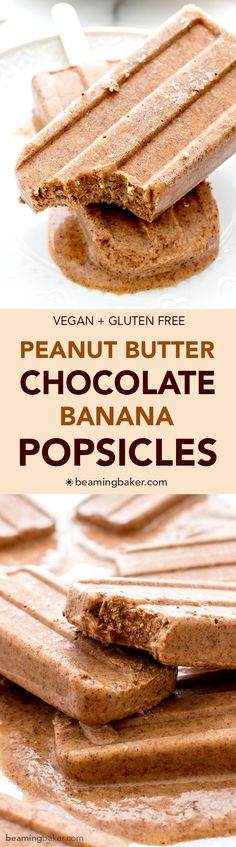 Chocolate Peanut Butter Banana Popsicles (V+GF): Just 6 ingredients to creamy, delicious chocolate peanut butter popsicles that taste like an ice cream sundae. #Vegan #GlutenFree | http://BeamingBaker.com