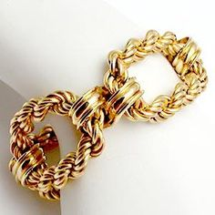 VINTAGE TIFFANY & CO. WIDE LINK CHAIN CUFF BRACELET SOLID 14K GOLD