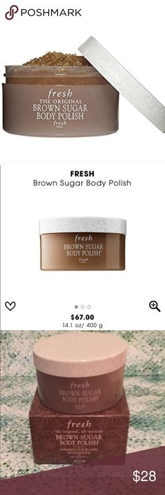 Fresh brown sugar body polish Fresh Brown sugar body polish with real brown sugar crystals saturated in smoothing oils that leave skin exfoliated, and silky soft. Great to shave with and zero razor burn! And smells like heaven!! Brand new, sealed. 7 oz jar. Sephora Makeup Brushes & Tools