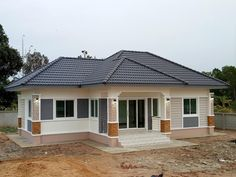 My future house in sha Allah Flat House Design, Modern Bungalow House Design, House Outside Design, Village House Design, Simple House Design, Model House Plan, My House Plans, Bungalow House Plans, Single Storey House Plans