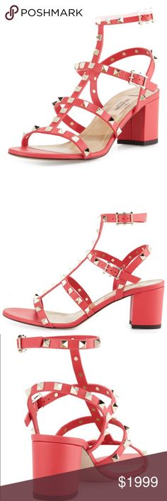 VALENTINO ROCKSTUDS Authentic Valentino Rockstud heeled sandals. Size 7.5 very comfortable stunning coral color! Comes in box! Ships ASAP! worn once. No trades❌no pp❌no low ball offers!! Serious buyers only please! Feel free to use the OFFER BUTTON if you like them. PLEASE be mindful of the high Fees. Bundle to save more🎉OFFER BUTTON Valentino Shoes Sandals