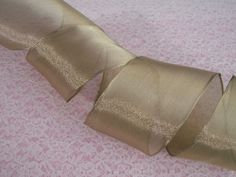 Christmas Ribbon, Gold Ribbon, 2 1/2 In Wide,Wired Edge, 5 YARDS
