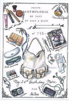 Miss Nathalie Lecroc purse illustrations