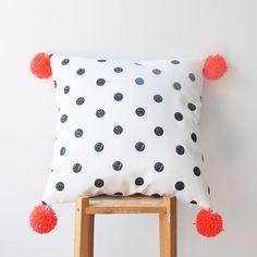 "Decorative Pillow, Modern Nursery Pillow, Geometric Kids Pillow, Throw Pillow, Neon Orange Pompoms 16"" x 16"" by LoveJoyCreate on Etsy https://www.etsy.com/listing/200817213/decorative-pillow-modern-nursery-pillow"