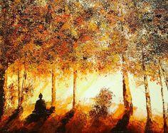 Méditation, peinture lumineuse, Huile au couteau, peinture ambiance zen, artiste français, création unique,livraison offerte