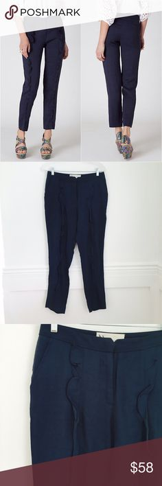 Leifsdottir ruffled pants Ruffled Slims by Leifsdottir. Linen blend navy trousers with ruffles from the pleated waist to the cropped tapered ankle. Front and back welt pockets. Viscose and linen. Crossed-out tag. Size 4. NEW WITHOUT TAGS. Anthropologie Pants