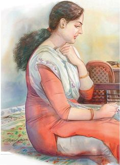 Indian Women Painting, Indian Art Paintings, Old Paintings, Sexy Painting, Painting Of Girl, Figure Painting, Watercolor Scenery, Indian Art Gallery, Art Painting Gallery