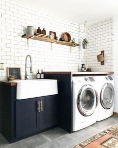 Blue, white, brass, boho laundry room | See this Instagram photo by @brepurposed