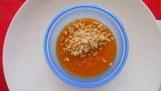 Tekvicové pyré s kuracím masom, mrkvou a pórom