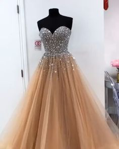 champagne prom dresses evening dresses  #prom #promdress #evening #eveningdresses