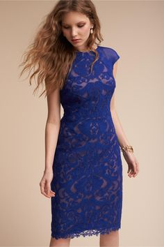 bold, geo lace in rich, royal blue | Micha Dress from BHLDN