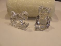 Rocking Horse, Bear, Princess House Crystal, Two (2) Nursery Decor, Baby Shower Gift, New Baby Gift, Mother To Be Gift, Baby Decor, Baby by BeautyMeetsTheEye on Etsy