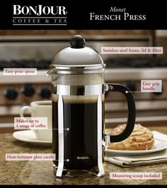 This classic BonJour® French Press features our patented stainless steel high-dome lid. More features include a stainless steel filter, rod and screen, heat resistant borosilicate glass carafe and an easy to grip knob and handle. A patented filtering lid reduces loose grinds in your cup.