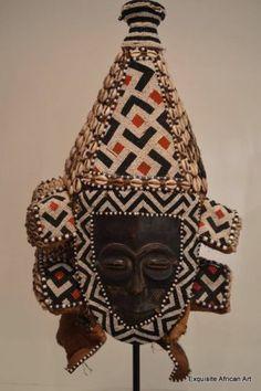 Exquisite African Art - Kuba Twin Faced Lele Helmet Mask Congo, Glass Beaded   eBay