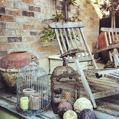 Corner of our garden court yard. Vintage Roses, Decoration, Hanging Chair, Beautiful Gardens, Court Yard, Corner, Backyard, Rustic, Antiques