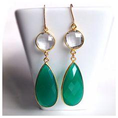 Emerald Green Onyx Bezel Set Earrings - Bezel Set Earrings - Gemstone Earrings - Drop Earrings - LIMITED EDITION on Etsy, $76.00