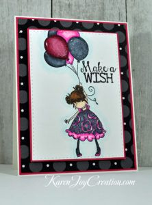 Blossoms Love Balloons Make a Wish Birthday Handmade Card with Stamping Bella Tiny Townie Blossoms Love Balloons and Avery Elle Cupcakes