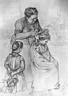 """""""Haircut"""" by Christian Wilhelm Allers – German) Human Figure Sketches, Human Sketch, Human Figure Drawing, Figure Sketching, Body Drawing, Life Drawing, Really Cool Drawings, Cool Art Drawings, Amazing Drawings"""