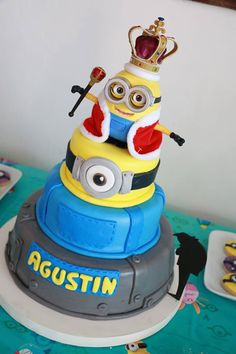 Despicable Me Minions birthday party cake! See more party planning ideas at CatchMyParty.com!