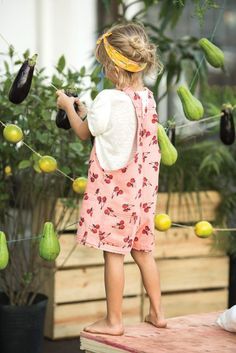 Adorable loose overalls w/ cherry print