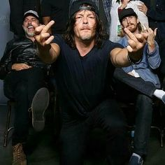 Jeffrey Dean Morgan (Negan), Norman Reedus (Daryl) and Austin Amelio (Dwight) of The Walking Dead