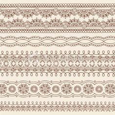 Henna Flower Border Designs Doodles Vector Royalty Free Stock Vector Art Illustration