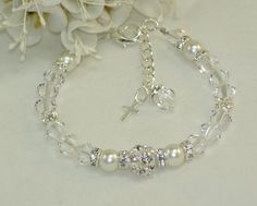 Christening Bracelet, Confirmation Jewelry, Baptism Bracelet, Swarovski Crystal and Rhinestone Jewelry. New Born Bracelet on Etsy, $25.00