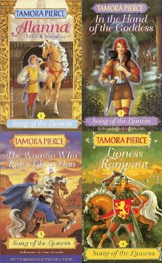My ALL-TIME favorite book since the 6th grade! I read this series at least once a year!     Song of the Lioness Series by Tamora Pierce