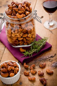 Maple-rosemary glazed cashews. So easy, but beware they are addictive! They make a great gift.